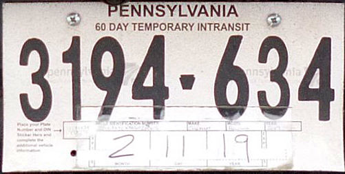 60-day temporary in-transit tag representing services of vehicle services company Messenger Service Inc in Monroeville, PA