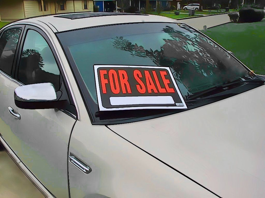 A for sale sign on a car representing vehicle services of vehicle services company Messenger Service Inc in Monroeville, PA